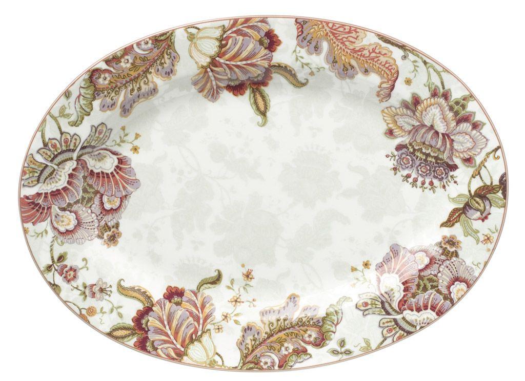 Elisabeth - Plat oval décor fleur ancienne 31 cm pour 33€