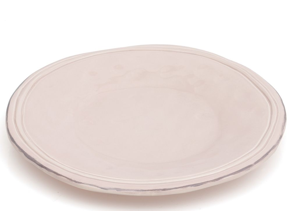 Avignon - Assiette à dessert  rose poudré en faïence 20cm (par4) pour 25€