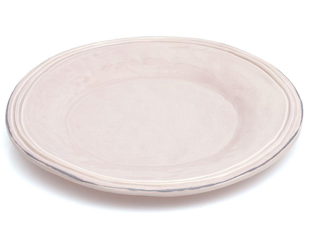Avignon - Assiette plate  rose poudré en faïence 26cm( par 4) pour 40€