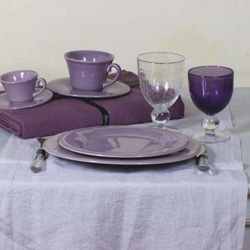 Chemin table lin - Chemin de table gris perle ...