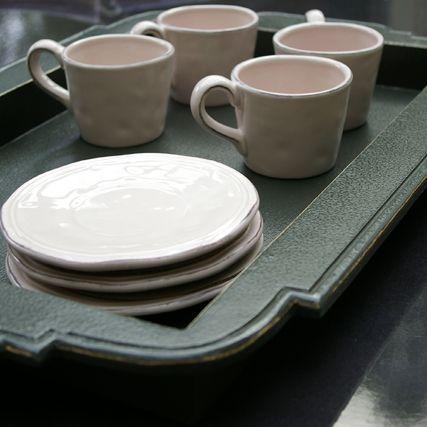 Avignon - Coffret de 6 tasses thé  rose poudré en faïence pour 55€