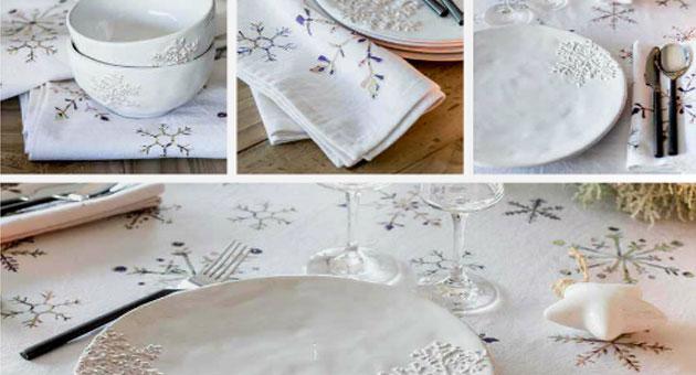 Snowflake - Assiette plate en ceramique blanche motif flocon