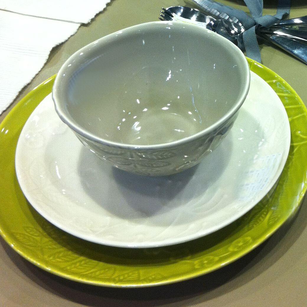 Poème - Assiette à dessert anis en faience 23 cm(par6)