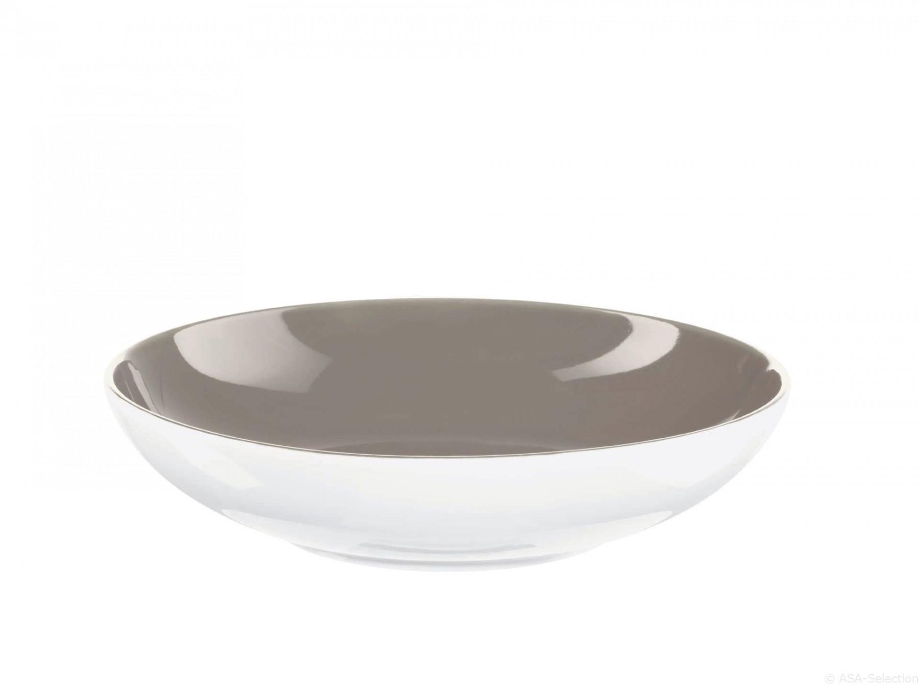 Colors it - Assiette à pâtes greige  22  cm en porcelaine ( par2)