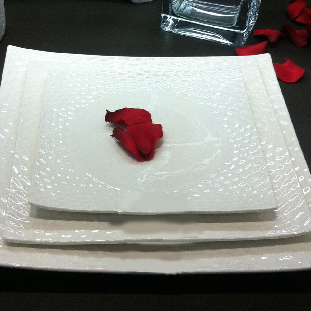 Dune - Assiette à dessert blanche en porcelaine (par4)