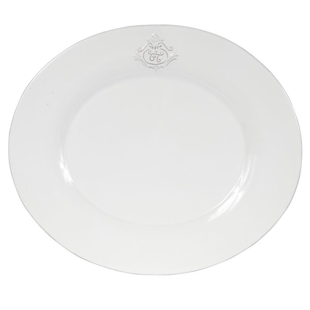 Capucine - Assiette à dessert ovale en faience blanche ( par 2)