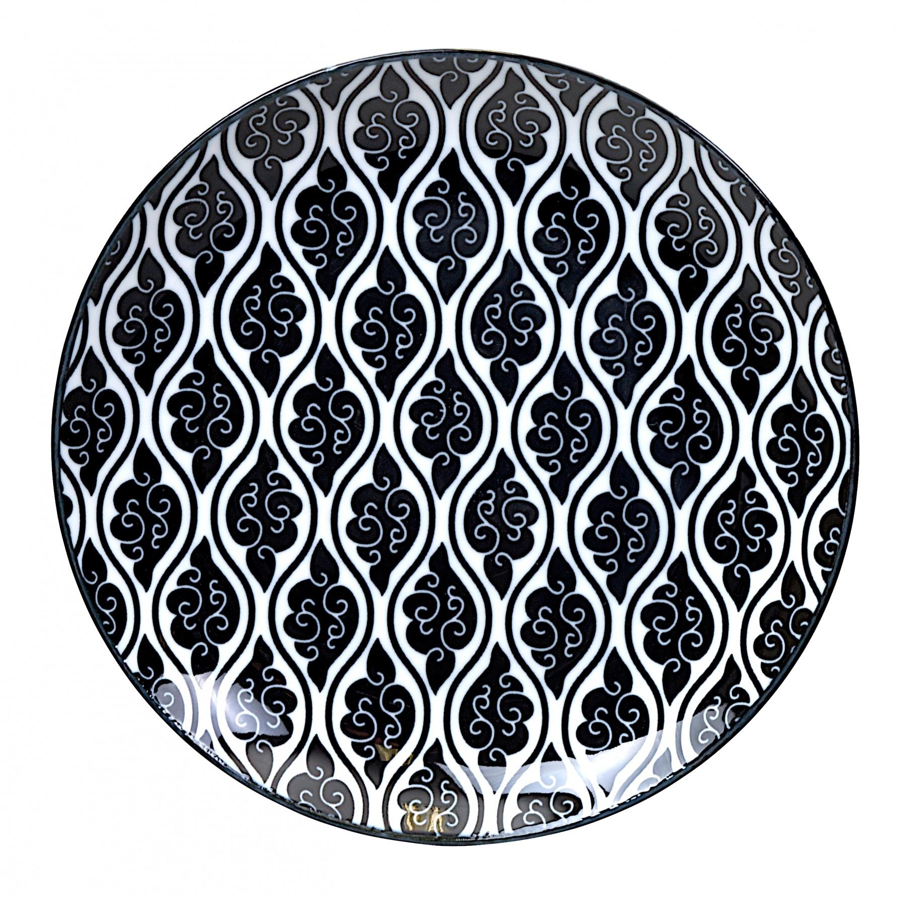 Nippon black - assiette à dessert nuages  noirs et blancs en porcelaine 20,6cm (par2)