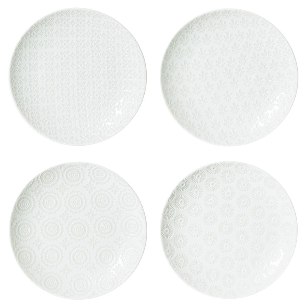 Snow - Coffret 4 assiettes à dessert  blanches en porcelaine  motifs assortis
