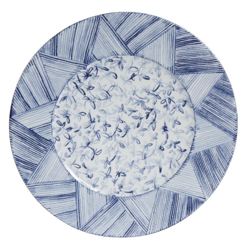 Calli -Plat rond  bleu et blanc pinceaux