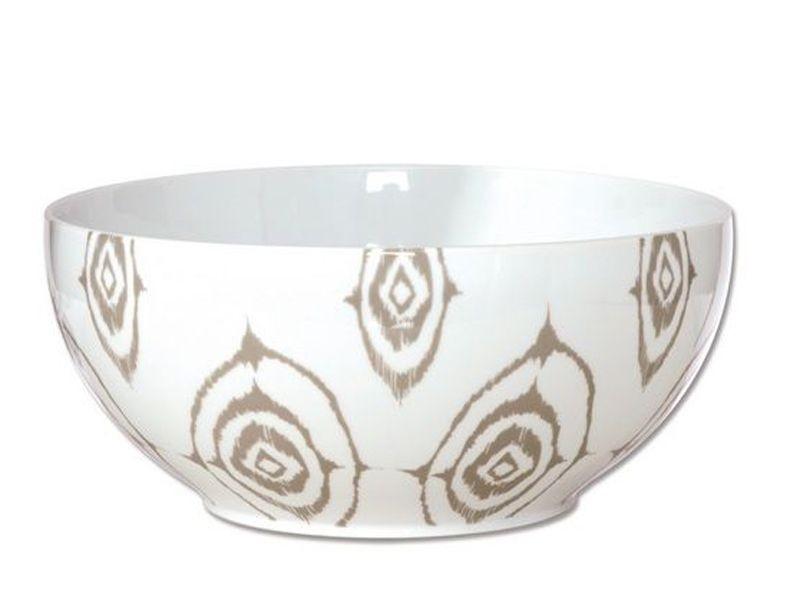 Ikat - saladier en porcelaine decoré etnic greige