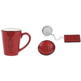Thé  -  Mug Thé  rouge  en  céramique  avec  boule  à  thé