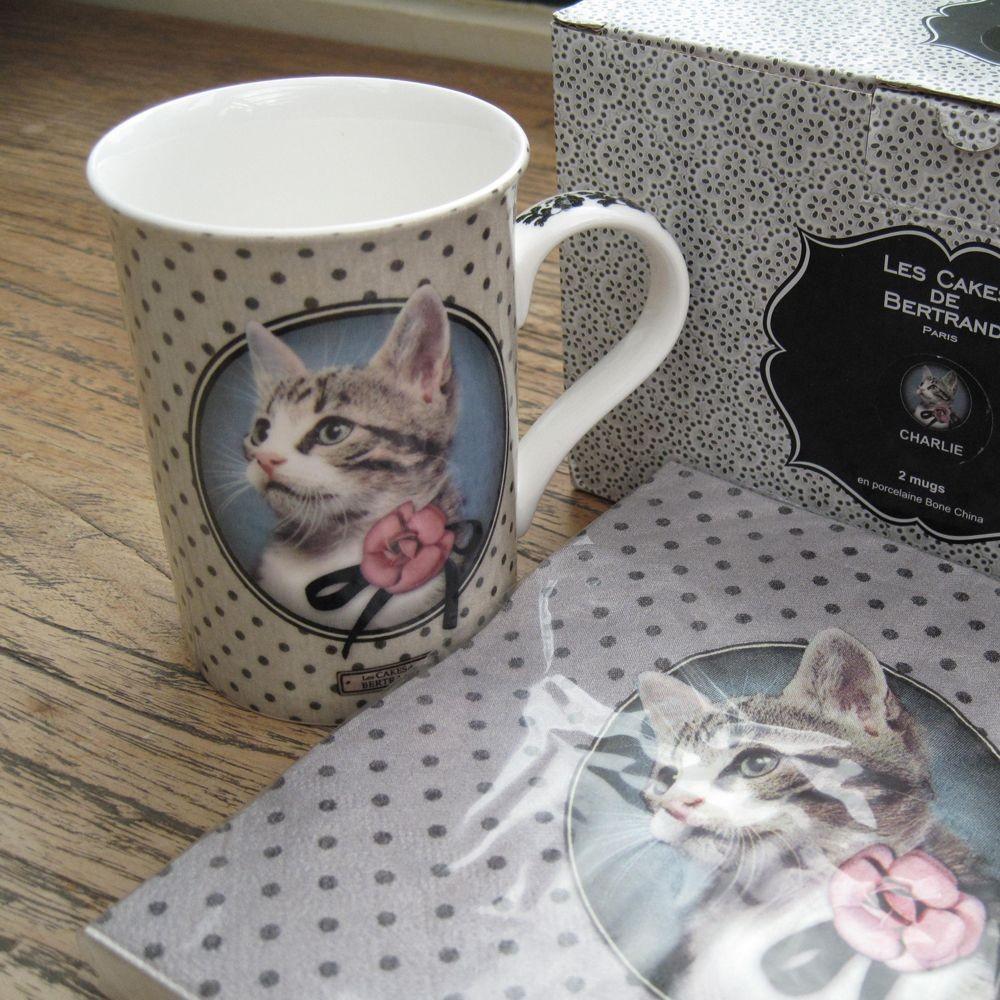 Charlie  - serviette  en papier  les cakes de bertrand Charlie le chat  ( par 20)