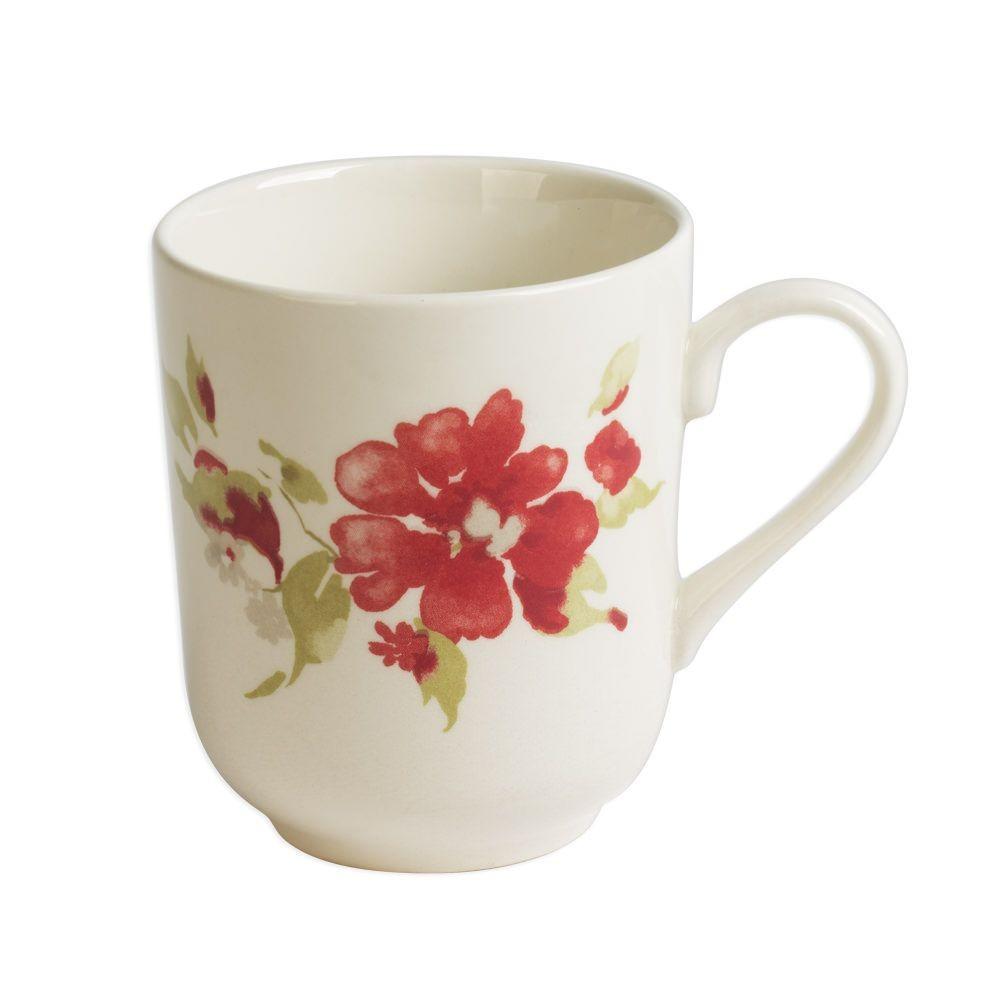 Bagatelle - mug   décor fleurs rouges en faience (par2)