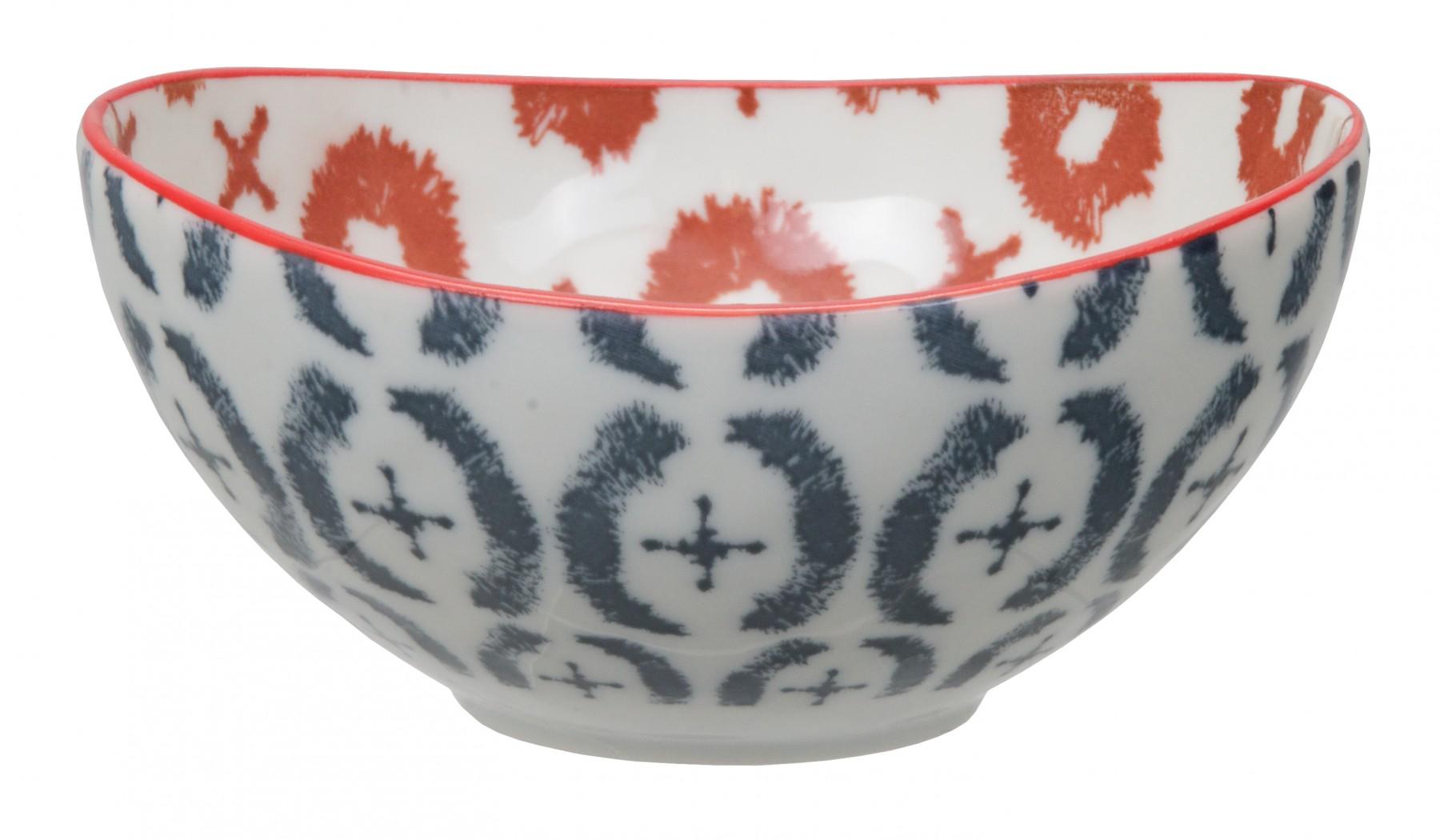 Kasuri - bol bleu et rouge  13x6cm en porcelaine (par2)