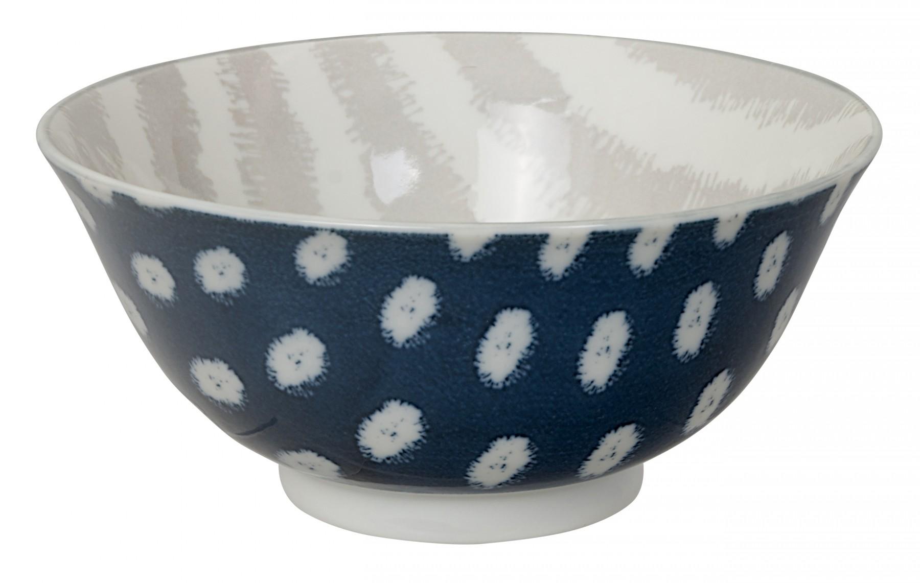 Kasuri - Bol à salade bleu foncé et rayures grises 20,8x8cm en porcelaine (par 2)