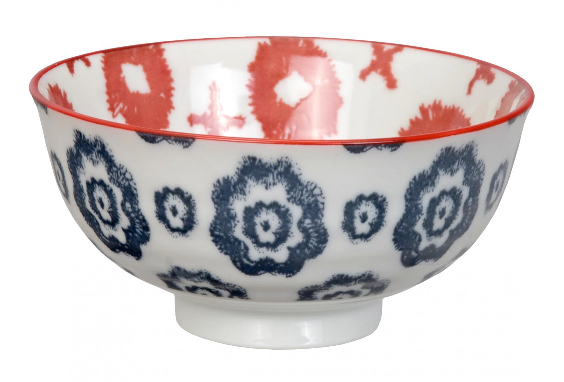 Kasuri - bol  de riz croix rouge et fleur bleu marine 11,2x5,5m en porcelaine (par2)