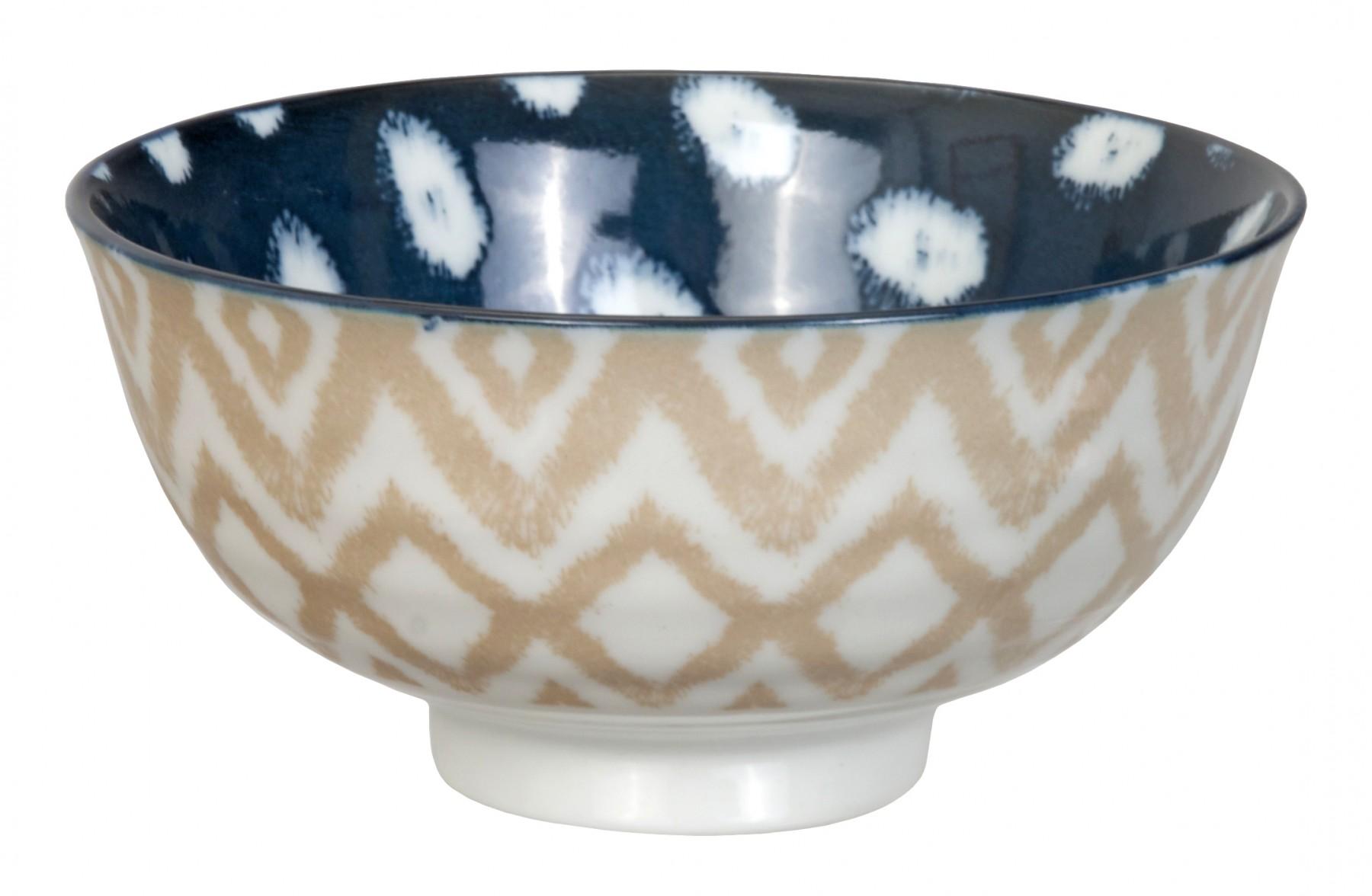 Kasuri - bol de riz  pois bleu foncé et carré beige  11,2x5,5m en porcelaine (par2)
