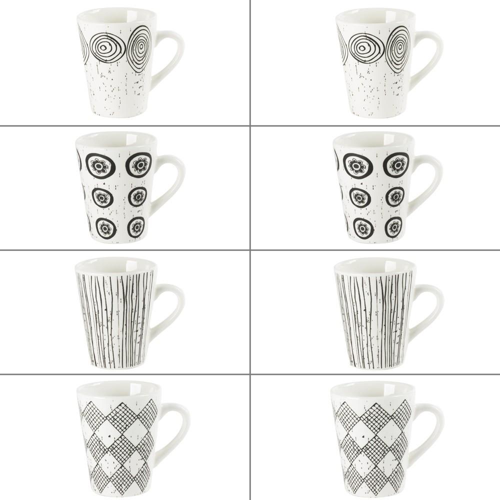 Palawan - coffret 8 mugs faience blanche et noires