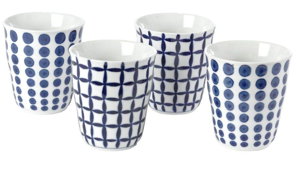 Bold Blue - Gobelets tasses thé  bleus et blans motifs assortis ( par 4)