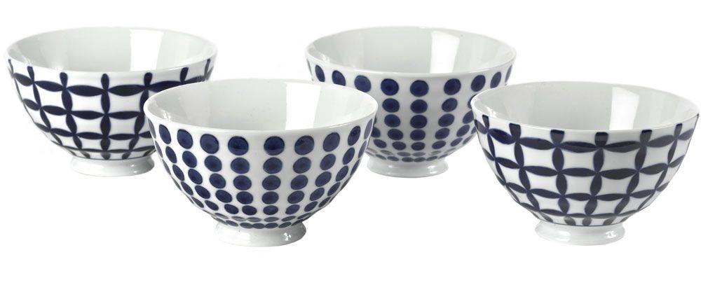 Bold Blue - Bols  bleus et blancs motifs assortis ( par 4)