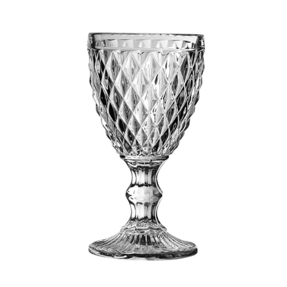 Diamand - Verre à pied  à vin transparent   (par4)