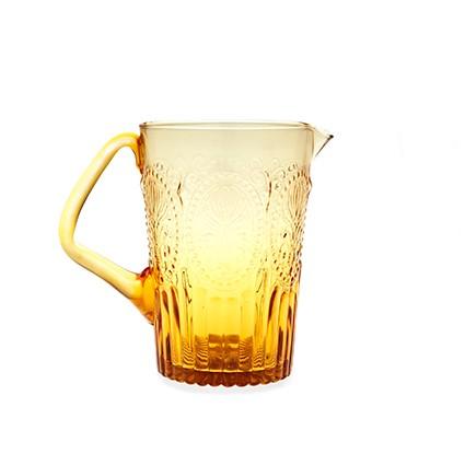 Fleur de Lys - Pichet en verre jaune ambre