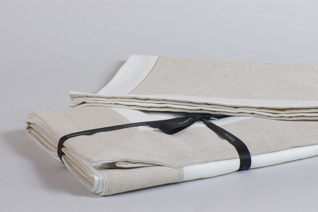 Dobby - Serviette  blanche en lin  (par6)