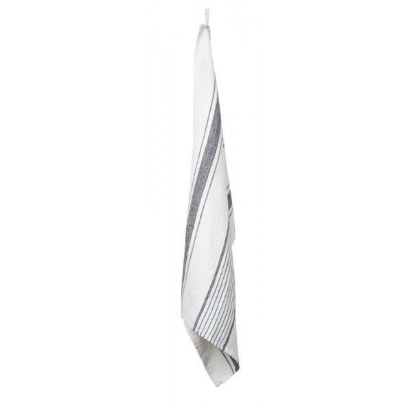 Aubagne – Torchon  en lin rayures blanc et granit