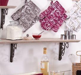 Manic - Manique et gant framboise  et blanc en coton
