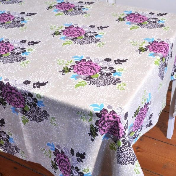 Bouquet - Nappe imprimé bouquet pink sur chambray rectangle