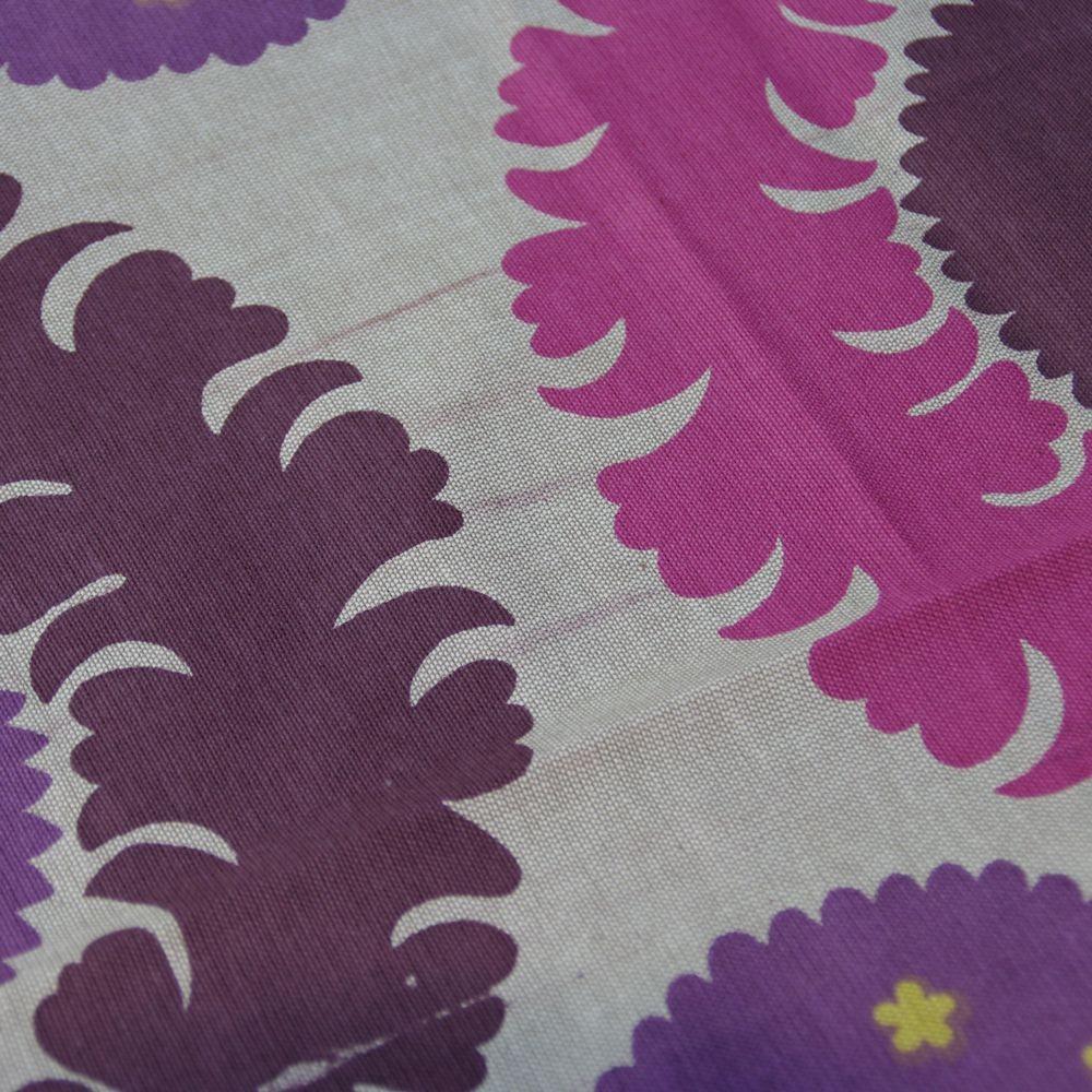 Suzani - Nappe indigo chambray carrée