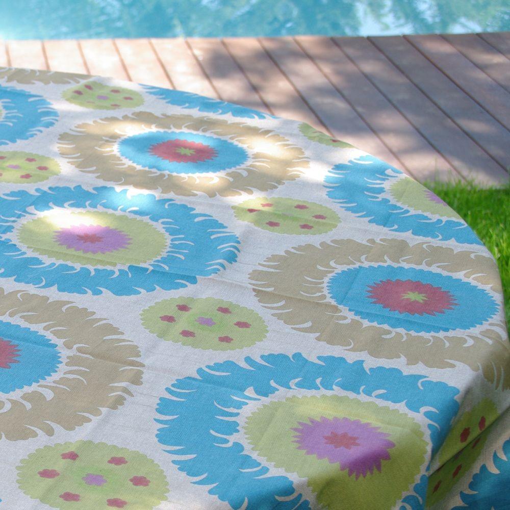 Suzani - Nappe petrol chambray rectangle