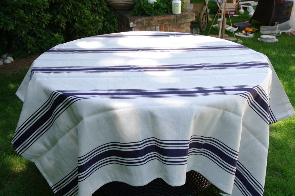 Coutil - Nappe tissage traditionnel basque aux 7 bandes, bleu marine 60%Coton 40%Lin, carrée