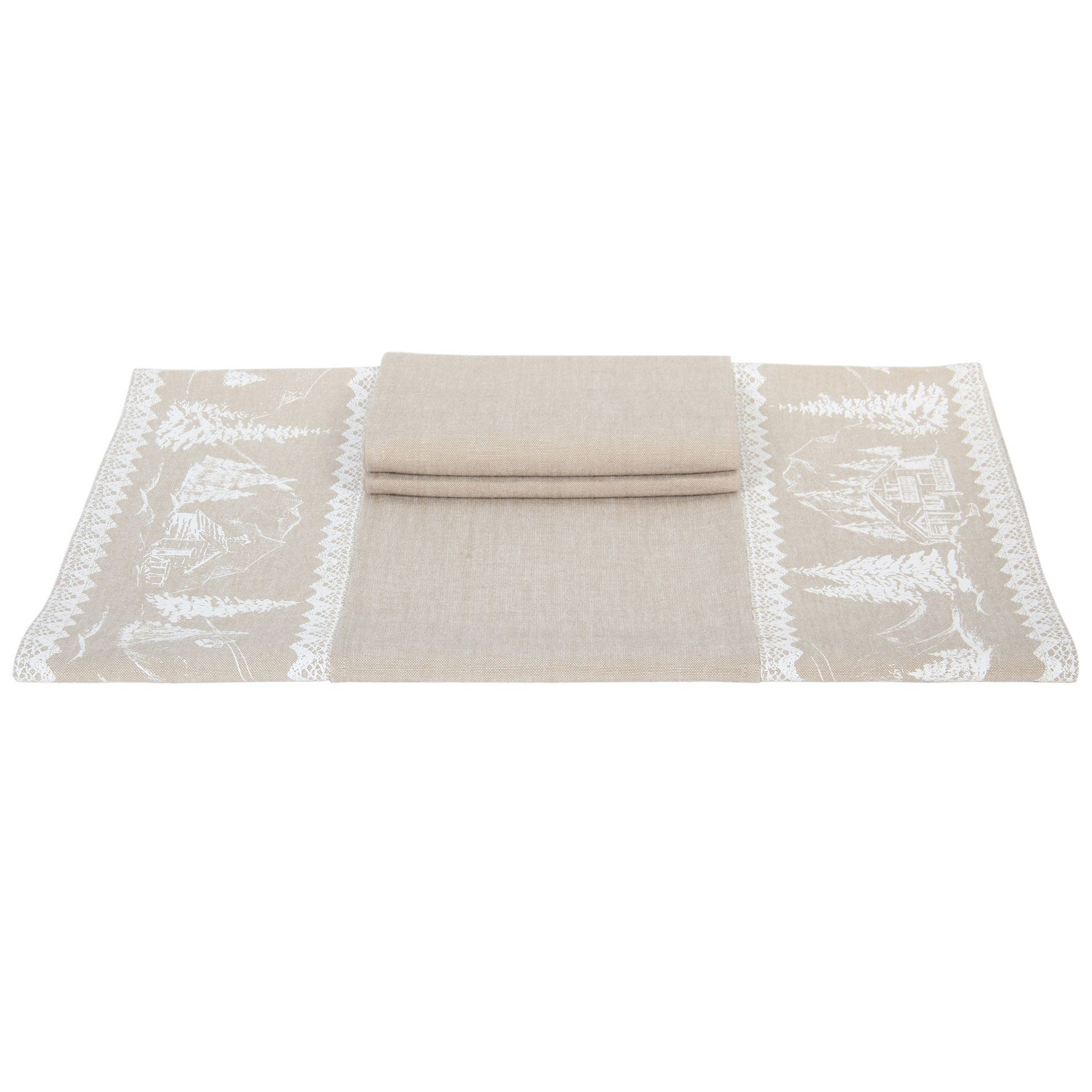 Montagne - double set de table  et 2 serviette assorties