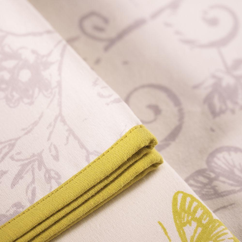 D' antan - serviette motifs  roses et papillons gris en coton (par6)