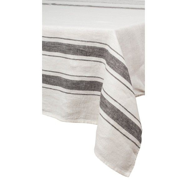 Aubagne – Nappe en lin rayures blanc et granit rectangle
