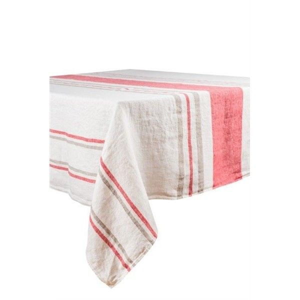 Roma – Nappe en lin rayures blanc et rose crumberry rectangle