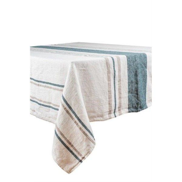 Roma – Nappe en lin rayures blanc et bleu de prusse rectangle