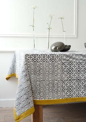 Big Four - nappe en coton grise et ocre