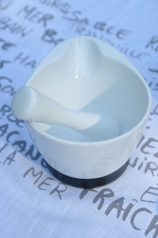 Herbs spice - Mortier en Grès blanc avec son socle en silicone