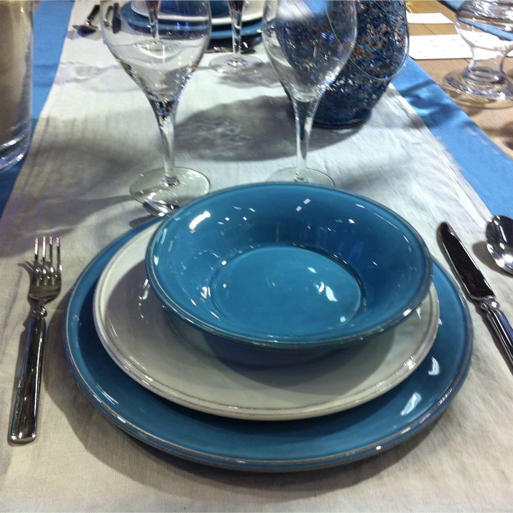 Constance  -  Saladier  en faience bleu azur 30cm