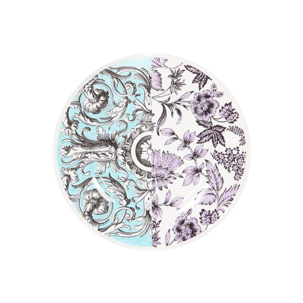 Libertine - Assiette  à  dessert bleu  et chardon  en faience (par6)