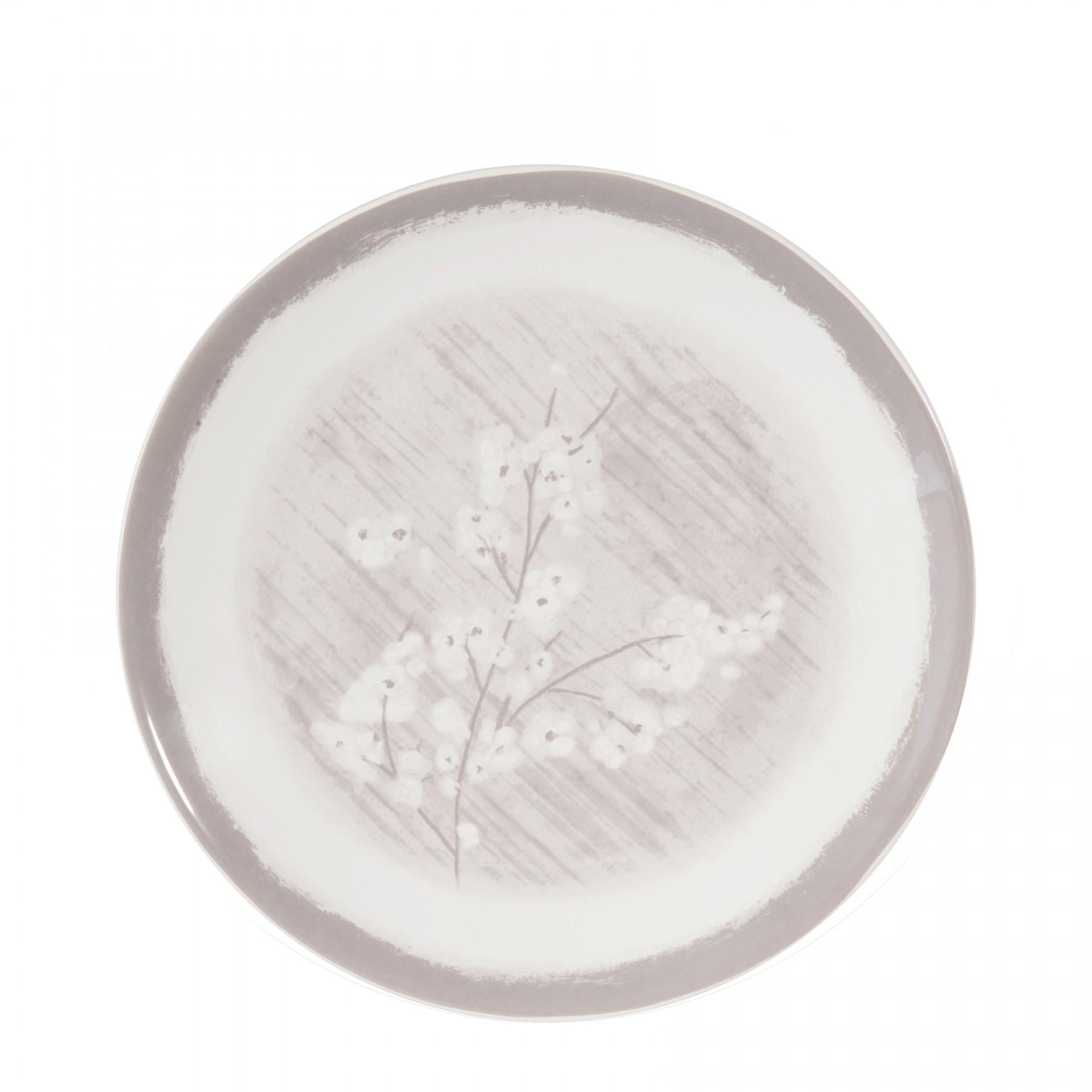 Pommier - Assiette à dessert  grise et fleur de pommier en porcelaine (par2)