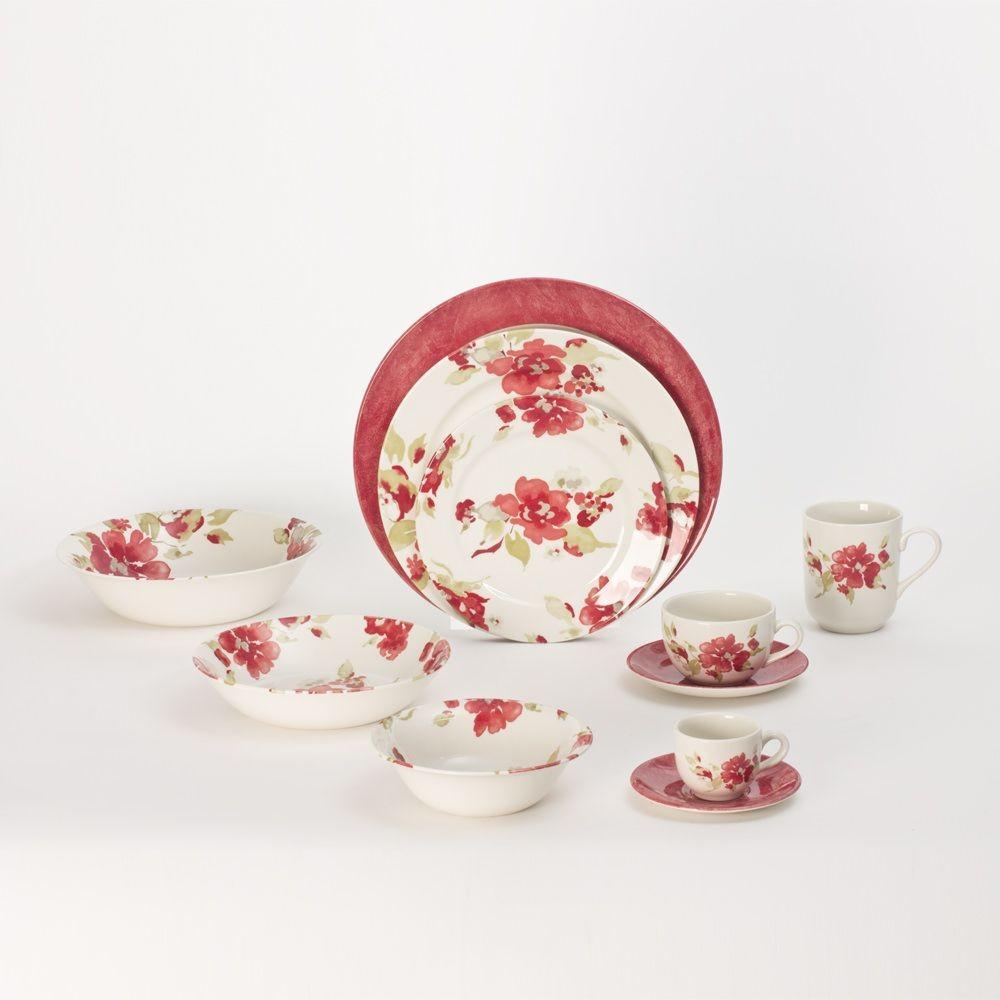 Bagatelle - Assiette à dessert  décor fleurs rouges en faience (par6)