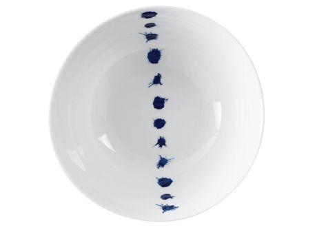 Deep blue -bol à salade blanche points bleus