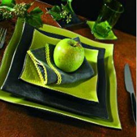 Bornéo - Assiette à dessert carrée noire (par6)