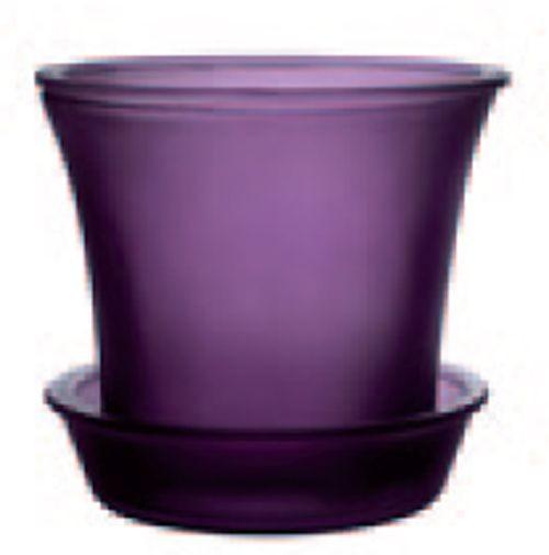 Couleurs - cache pot photophore en verre violet foncé