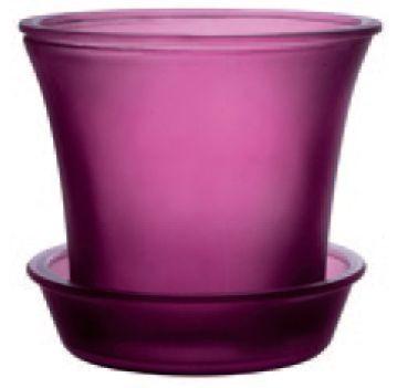 Couleurs - cache pot photophore en verre framboise