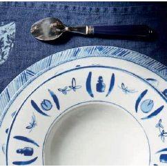 Calli - Coupelle  bleue et blanche pinceaux ( par 2)