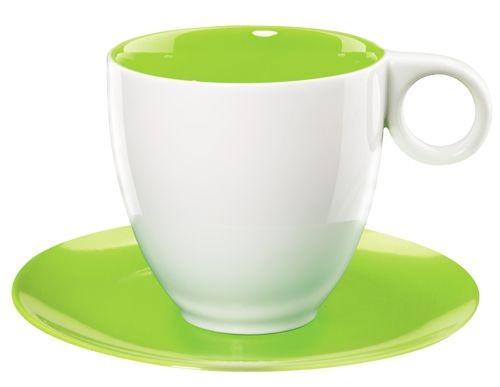 Colorit  -  tasse  café  blanc/kiwi  en  porcelaine  (par6)